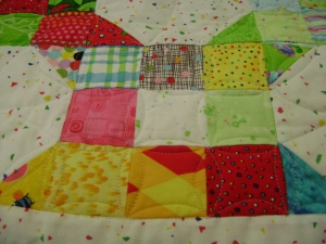 Pieced blocks of the snowball quilt