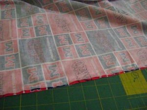 Line up the pattern on a quilt back 010