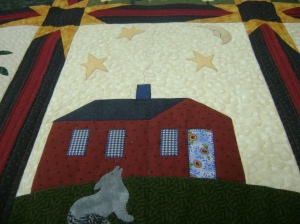 Applique house and wolf